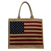 American Flag USA Tote Bag Beach Purse Jute Large Size Red Tan Blue