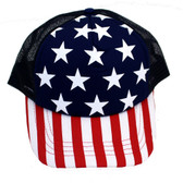 Stars and stripes red white and blue trucker hat.