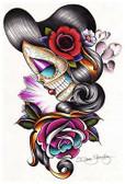 Sad Girl by Dave Sanchez Fine Art Print Day of the Dead Sugar Skull
