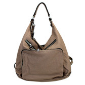 Stonewashed taupe brown purse or backpack.