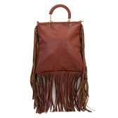 Brown fringe bohemian hobo purse.
