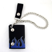 Blue flame leather wallet with chain.