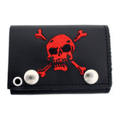 Black leather wallet with red skull and crossbones.