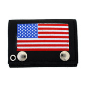 American flag screened on black leather trifold wallet.