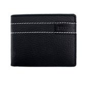 Black leather bi-fold wallet.