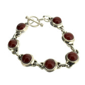 Brown Red Carnelian Sterling Silver Bracelet