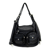 Black stonewashed purse or backpack.