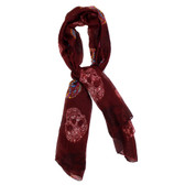 Maroon Day of the Dead multi skull scarf.