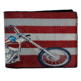 American flag and motorcycle screened on outside of leather wallet.