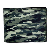 Military camouflage screened men's leather wallet.