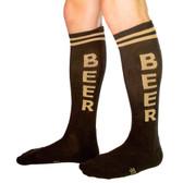 Men's or Women's BEER Black and Tan Athletic Knee High Socks