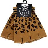 Leopard print fingerless gloves.