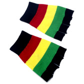 Rasta black with red, yellow and green stripes fingerless gloves.