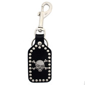 Skull biker leather keychain.