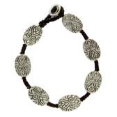 Oval Floral Design Silver Alloy Bracelet Wrist Jewelry Waxed Linen Wristband