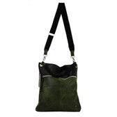 Leather and tiretube crossbody bag.