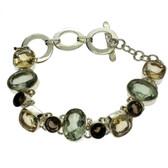 Smoky Quartz, Green Amethyst & Citrine bracelet.