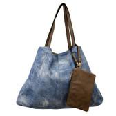 Blue stonewashed tote bag.