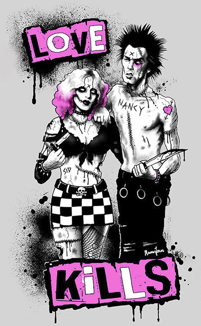 sid and nancy by marcus jones screaming demons canvas giclee art print. Black Bedroom Furniture Sets. Home Design Ideas