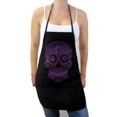Purple Day of the Dead skull on black apron.