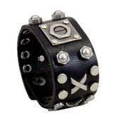 Black leather cuff bracelet with metal detail.