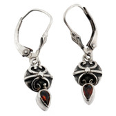 Faceted Red Garnet Earrings Sterling Silver Dangle Jewelry