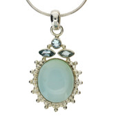 Blue Chalcedony and blue Topaz sterling silver pendant.