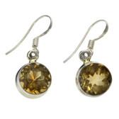 Citrine sterling silver dangle earrings.