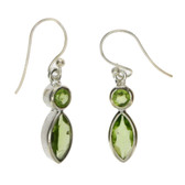 Sterling silver Peridot dangle earrings.