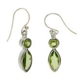 Sterling silver Peridot dangle earrings.