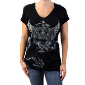 Black short sleeved crown and wings shirt.