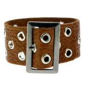 Medium brown leather bracelet.