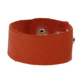 Orange leather cuff bracelet.