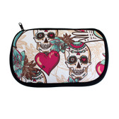 Skulls and hearts cosmetic bag.