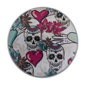 Day of the Dead skull round aluminum tin box.