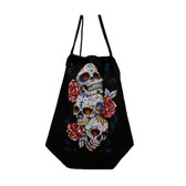 Three Day of the Dead skulls and roses backpack sack.