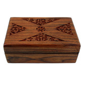 Carved floral design wooden jewelry box.