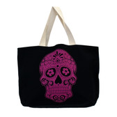 Large black tote with Day of the dead skull.