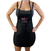Pink skull and crossbones with red bow on black apron.