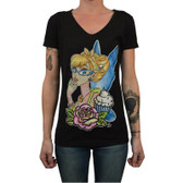 Miss Cherry Martini Women's Tattooed Fairy V Neck Tee
