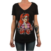 Miss Cherry Martini Women's Tattooed Mermaid V Neck Tee