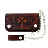 """6"""" Men's Antiqued Brown Leather Wallet with Chain Cross w/ Fleur de Lis Design"""