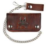 Skull and crossbones brown biker wallet.