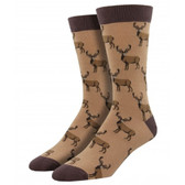 Men's Bamboo Crew Socks Stags Buck Male Deer