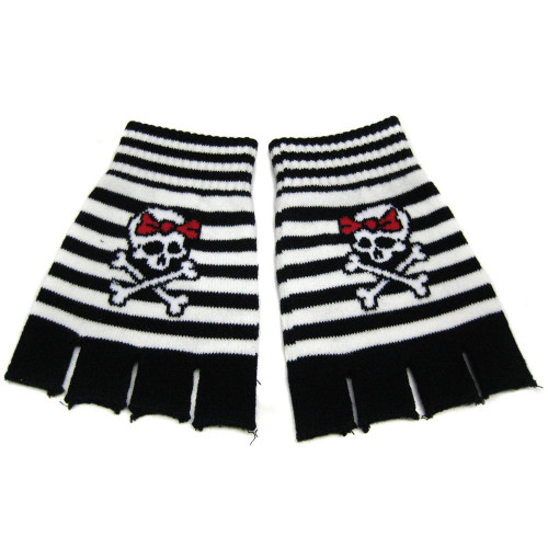 Knitted Girly Skull & Crossbones Fingerless Gloves