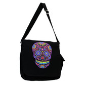 Black Large Messenger Bag Bright Colorful Day of the Dead Skull Canvas Purse