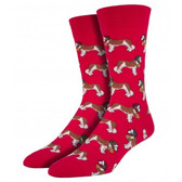 Socksmith Men's Crew Socks St. Bernard Puppy Dogs Red