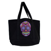 Large Sturdy Black Canvas Tote with Bright Colorful Day of the Dead Skull