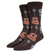 Socksmith Men's Crew Socks Guitars Brown