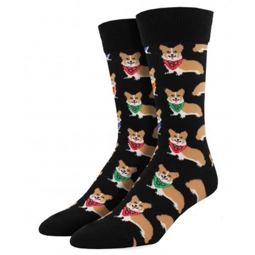 Men's Crew Socks Corgi Puppy Dog Black